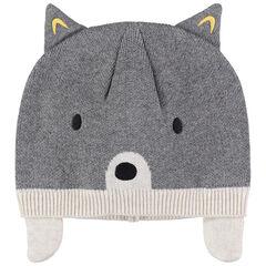 Bonnet en tricot à oreilles doublé jersey