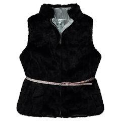 Vest zonder mouwen met namaakbont en afneembare riem