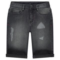 Junior - Bermuda en jeans effet used avec usures fantaisie