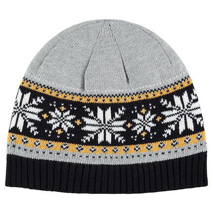 Bonnet en tricot doublé sherpa avec motif jacquard fantaisie