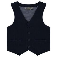 Vest van zware jerseystof met gestreepte voering van jerseystof