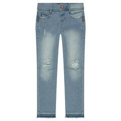 Skinny jeans met used effect