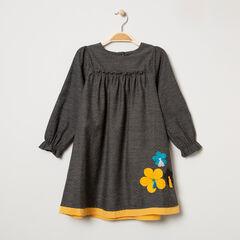 Robe manches longues en coton plumetis et fleurs brodées