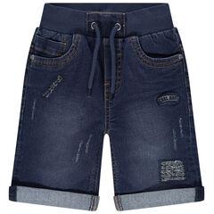 Used jeans bermuda met riem van ribstof