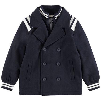 Manteau en drap de laine effet 2 en 1 avec bandes contrastées