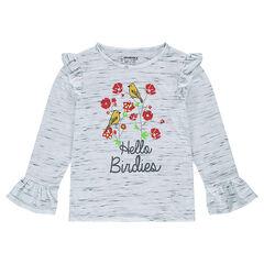 T-shirt met korte mouwen en bloemenprint met volants