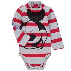 Body met lange mouwen uit gestreepte jerseystof met print van Mickey