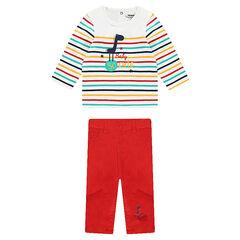 Ensemble  tee-shirt rayé et pantalon en toile uni