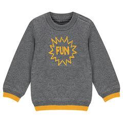 Trui met voering van tricot met contrasterend jacquardmotief