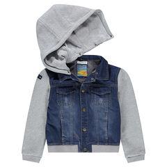 Junior - Veste en jeans bi-matière effet used