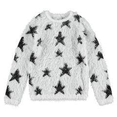 """Junior - Trui van tricot met """"haartjes""""-efffect en contrasterende sterren """"all-over"""""""