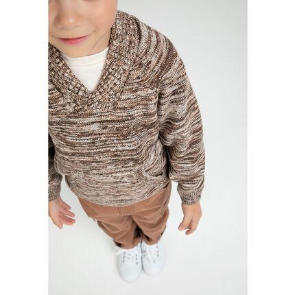 9044ca89b88 Pull en tricot twisté avec col châle et poche kangourou - Orchestra BE
