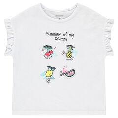 T-shirt met korte mouwen met opgestikt fruit en mouwen met volants
