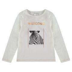 T-shirt met lange mouwen uit jerseystof met zebraprint en volants