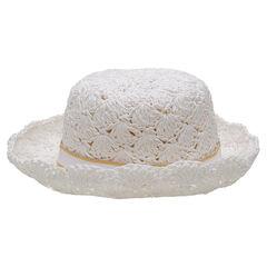 Chapeau effet paille avec galon et noeud plat