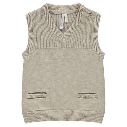 Pull de cérémonie sans manches en tricot à poches
