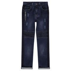 Junior - Jeans met used- en crinkle-effect met zak met ritssluitingen en sierstiksels