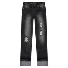 Junior - Slim fit jeans met used effect en decoratieve scheuren