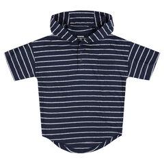 """Junior - T-shirt met korte mouwen, kap en met streepjes """"all-over"""""""