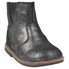 Bottines noires et argentées en cuir
