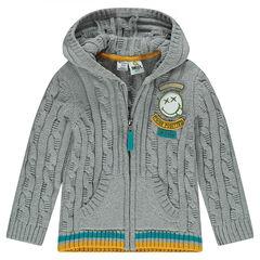 Gilet en tricot à capuche avec badge ©Smiley