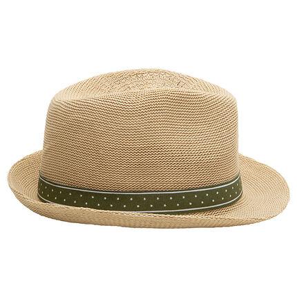 Trilby-hoed met stro-effect en groen lint