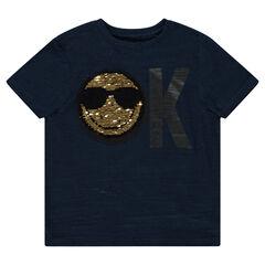 T-shirt met korte mouwen van jerseystof met ©Smiley-motief van magische lovertjes