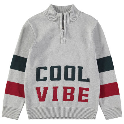 Junior - Pull en tricot avec inscriptions en jacquard et col zippé