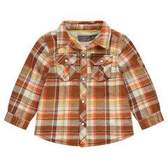 Overhemd met ruitjes, voering van sherpastof en zakje