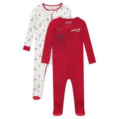 Set met 2 pyjama's van jersey met ritssluiting en fantasieprints