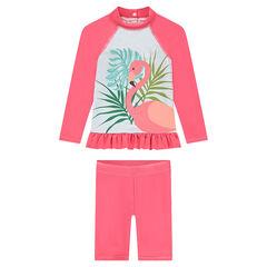 Anti-uv SPF 50+ badset met roze flamingo