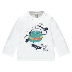 T-shirt met lange mouwen uit jerseystof met hamburgerprint