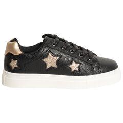 Baskets noires effet cuir à étoiles pailletées , SAXO BLUES
