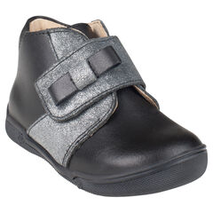 Boots in leder met klittenbandsluiting met strik zilverkleur