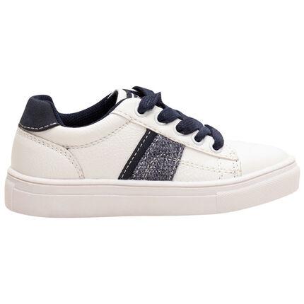 Lage sneakers met contrasterende veters en stroken van maat 24 tot 27