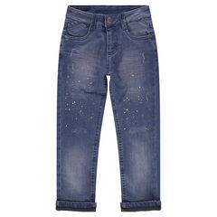 Jeans effet used doublé jersey avec effet de taches de peinture