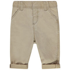 Pantalon beige effet used à poches italiennes