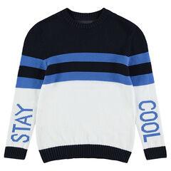 Junior - Pull en tricot fantaisie avec bandes contrastée et inscriptions