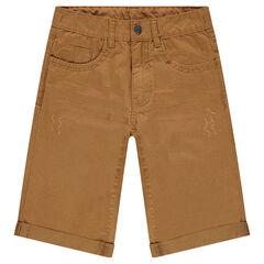 Junior - Bermuda en twill effet crinkle à poches