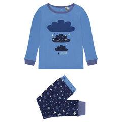Pyjama-ensemble uit katoen met wolken- en sterrenprint