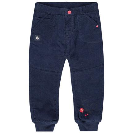 Pantalon en velours bleu marine print Mickey Disney