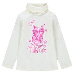 Onderhemd met rolkraag en roze kattenprint