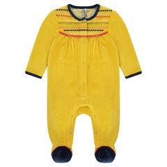 Fluwelen pyjama met geborduurd etnisch motief