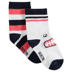 Set met 2 paar matching sokken met strepen en monster van jacquard