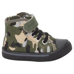 Hoge sneakers uit linnen met armymotief