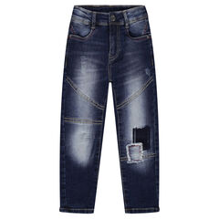 Jeans met used-effect, laag kruis, patches en cut-outs