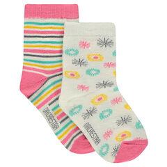 """Set van 2 paar sokken met motief """"all-over""""/strepen"""