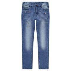 Junior - Jeans effet used et crinkle avec strass et clous fantaisie