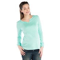 Tee-shirt manches longues de grossesse avec effet dentelle au dos