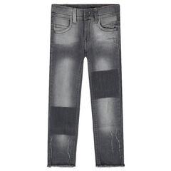 Junior - Slim fit jeans met used effect en decoratieve slijtage